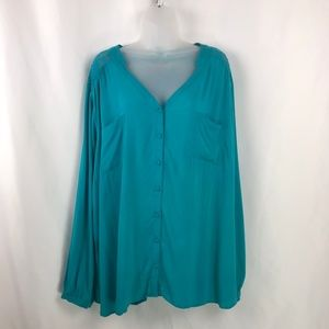 Torrid Blue Teal Cinch Back Lacy Peasant Blouse